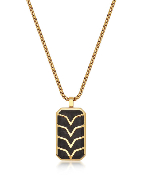 Men's Forged Carbon Fiber Dog Tag with Gold Chevron Detail - Nialaya Jewelry