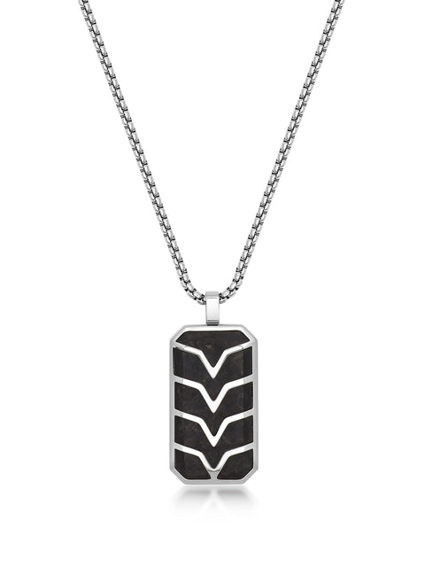 Men's Forged Carbon Fiber Dog Tag with Silver Chevron Detail - Nialaya Jewelry