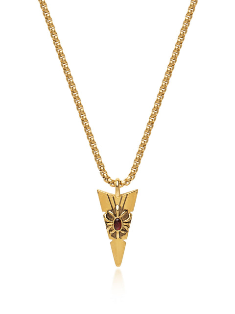 NIALAYA X JOHNNY EDLIND: Unisex Gold Arrowhead Necklace with Red Stone