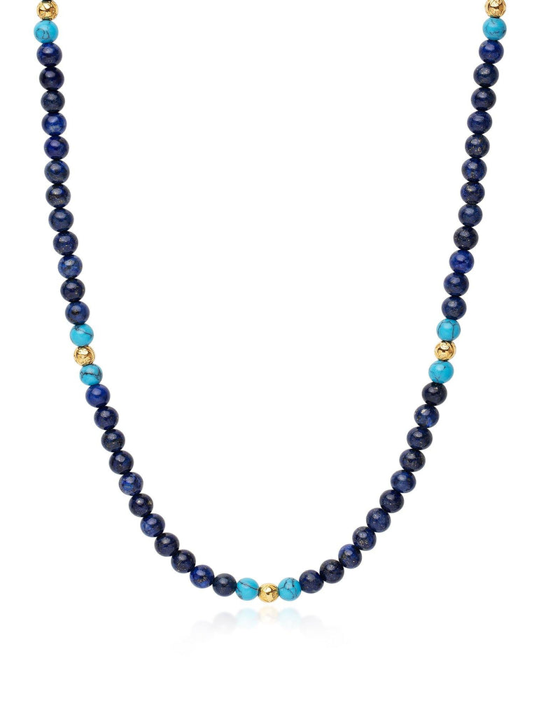 Men's Beaded Necklace with Blue Lapis, Bali Turquoise and Gold