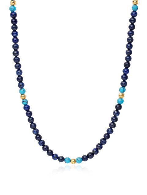 Men's Beaded Necklace with Blue Lapis, Bali Turquoise and Gold - NIALAYA INC