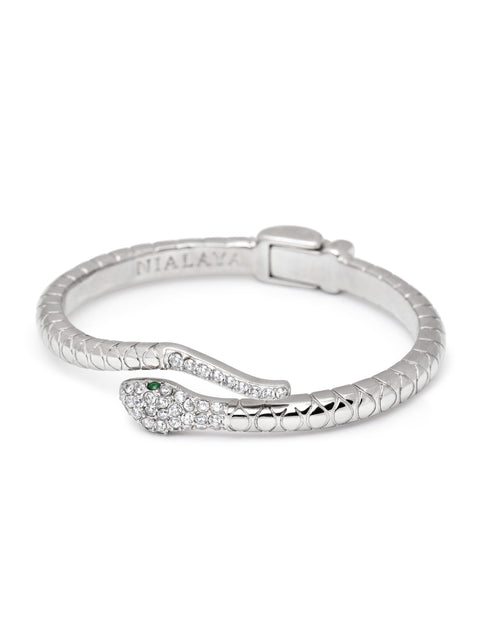 Women's Silver CZ Snake Bangle - Nialaya Jewelry