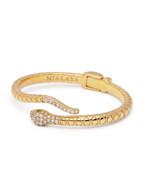 Women's Gold CZ Snake Bangle - Nialaya Jewelry