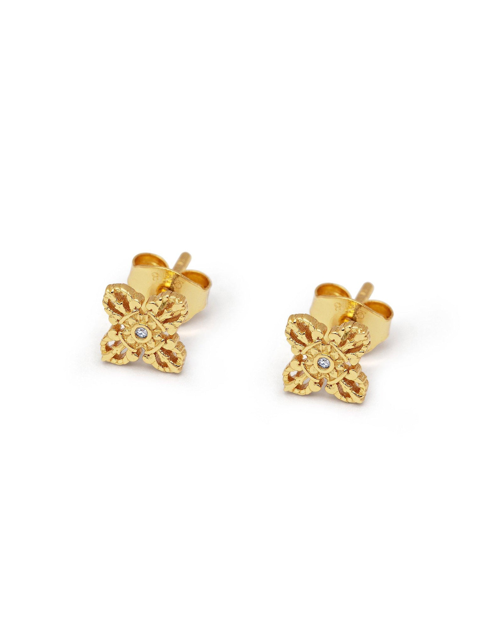 Women's Sterling Silver Mini Dorje Studs - Nialaya Jewelry