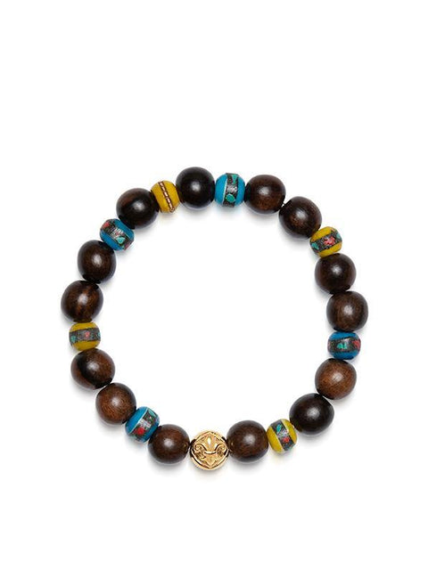 Wristband with Ebony and African Vintage Trade Wood Beads
