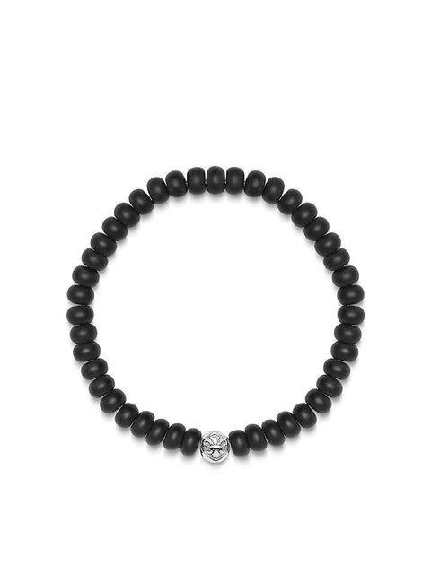 Wristband with Matte Onyx Rondelle Beads and Silver Logo Bead - Nialaya Jewelry