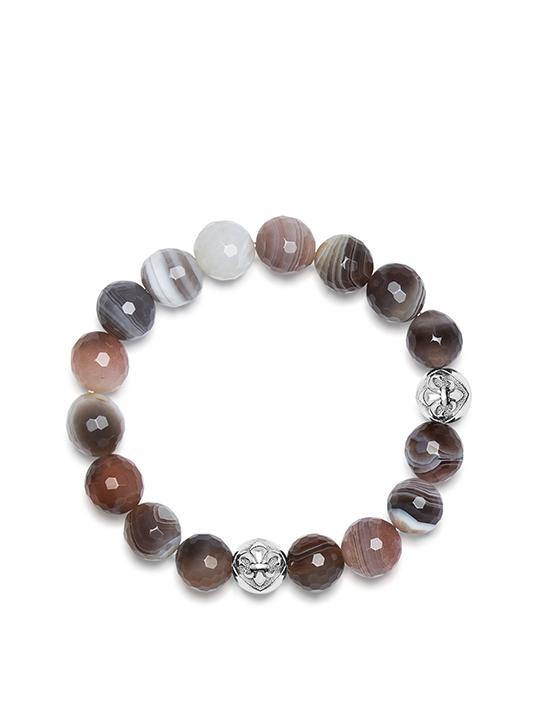 Women's Wristband with Botswana Agate and Silver Logo Beads