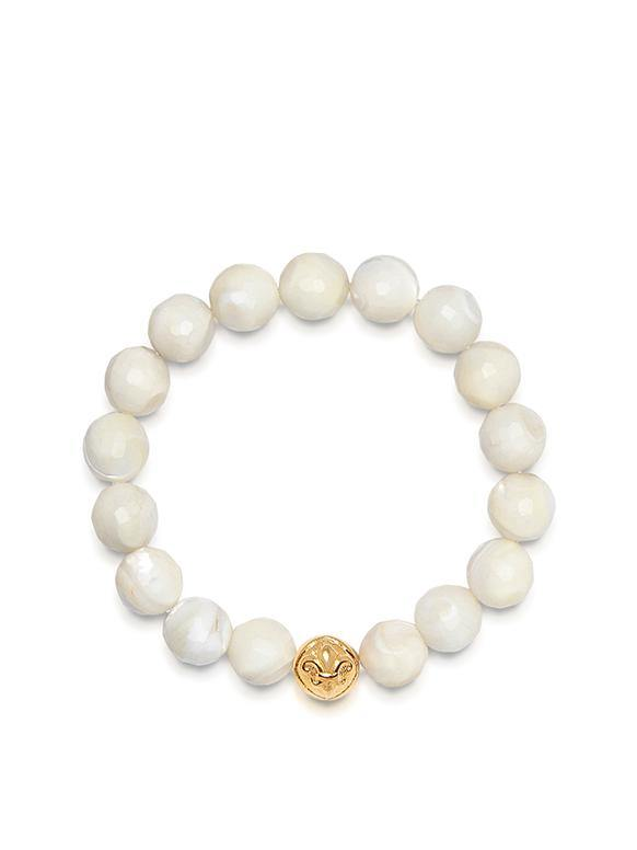 Women's Wristband with White Seashell and Gold Logo Ball
