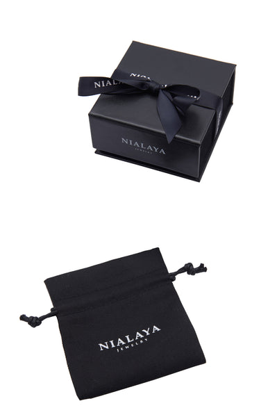 Leather Collection Soft Italian, Two Black CZ Diamond Beads & Black Ruthenium - Nialaya Jewelry  - 5