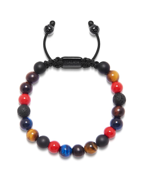 Men's Beaded Bracelet with Red Vintage Trifocal Beads, Matte Onyx, Lava Stone and Red Tiger Eye