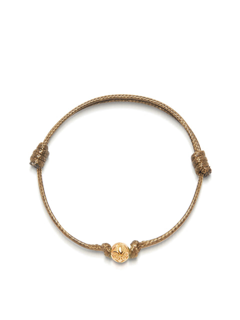 Women's Brown String Bracelet with Gold