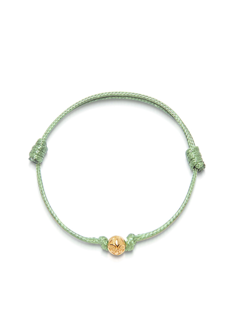 Women's Light Green String Bracelet with Gold