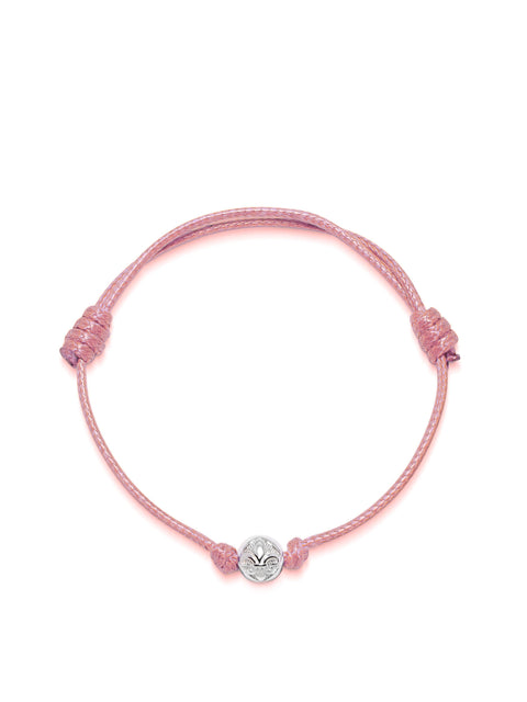 Women's Pink String Bracelet with Silver