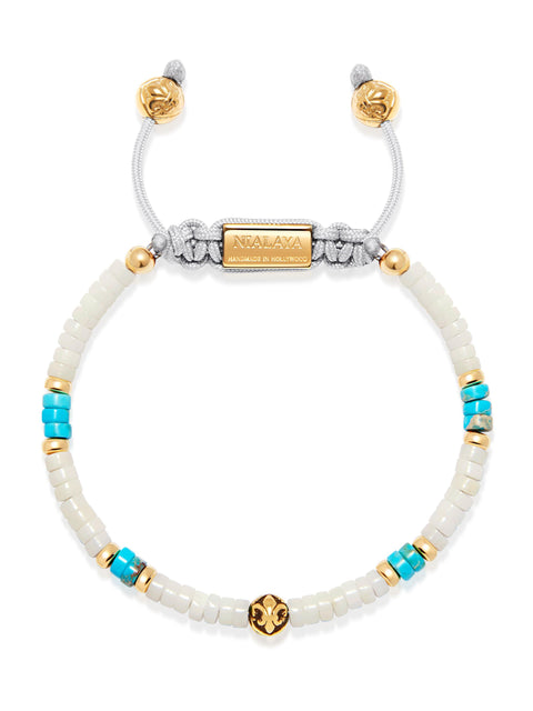 Heishi Bead Collection - White, Turquoise and Gold - NIALAYA INC