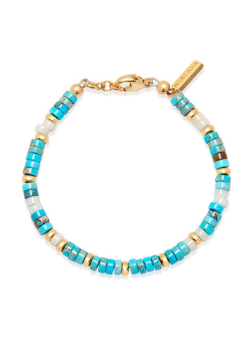 Women's Heishi Bead Collection - Turquoise, White and Gold