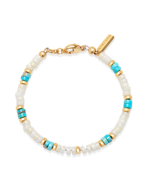 Women's Heishi Bead Collection - White, Turquoise and Gold