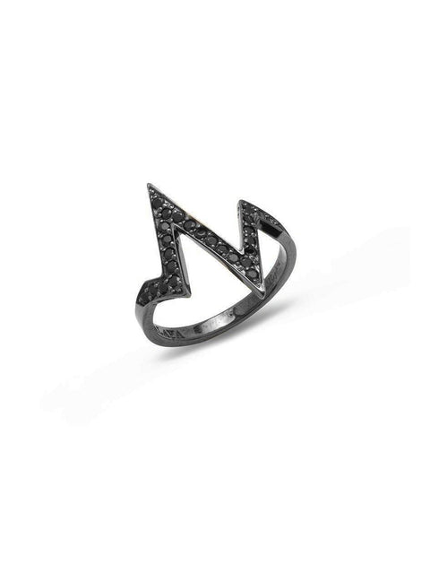 Women's Black Heartbeat Ring