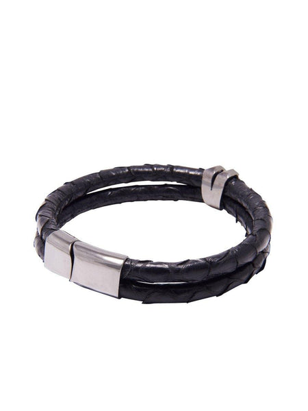 Men's Python Collection - Black Python with Diamond Shaped Black Rhodium Accent - Nialaya Jewelry  - 2