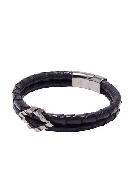 Men's Python Collection - Black Python with Diamond Shaped Black Rhodium Accent - Nialaya Jewelry  - 1