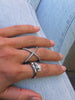 Cross Over Ring in Silver
