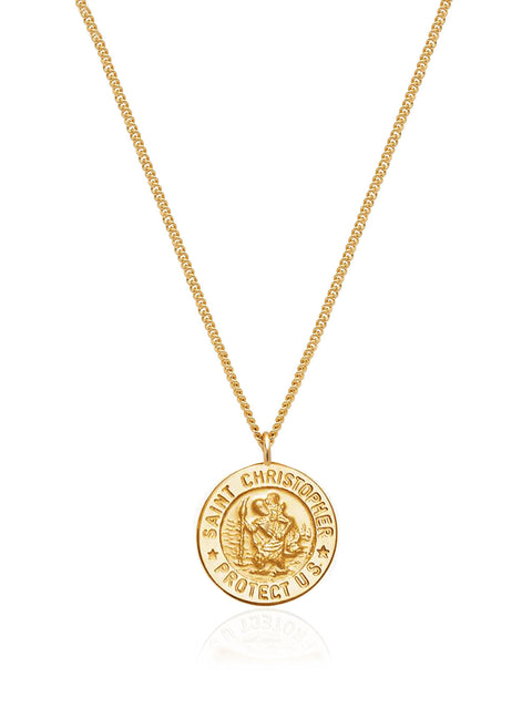 Women's Gold Necklace with Saint Christopher Pendant