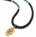 Special Order - Men's Beaded Necklace with Hamsa Hand Pendant - Nialaya Jewelry