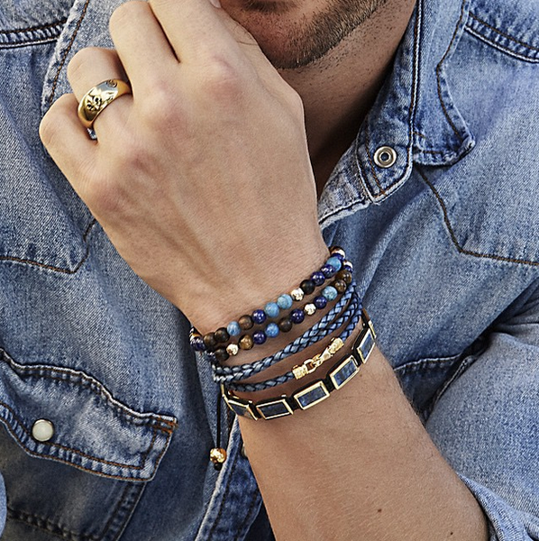 Men's 14K Gold Collection - Tiger Eye, Blue Lapis, Larimar, Ebony and Gold with Gold Skull - Nialaya Jewelry  - 4
