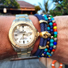 Men's 14K Gold Collection - Tiger Eye, Blue Lapis, Larimar, Ebony and Gold with Gold Skull - Nialaya Jewelry  - 5