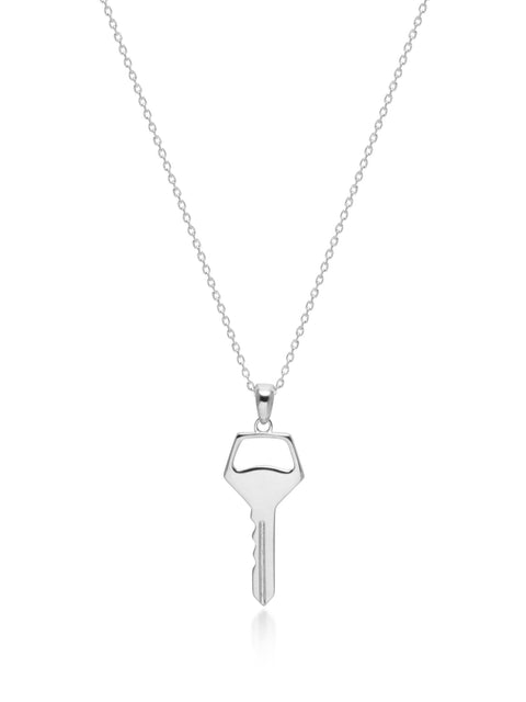 Key Necklace in Silver - Nialaya Jewelry