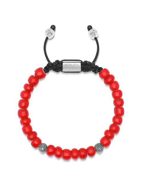 Men's Beaded Bracelet with Red Trifocal Vintage Glass and Cairo Beads - Nialaya Jewelry