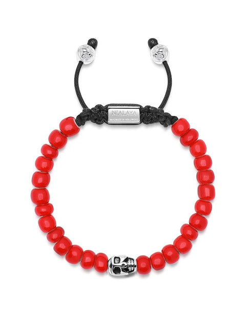 Men's Beaded Bracelet with Red Trifocal Vintage Glass Beads and Skull - Nialaya Jewelry