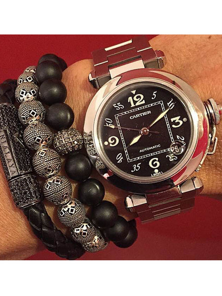 Men's Beaded Bracelet with Indian Silver Cairo Beads - Nialaya Jewelry  - 3