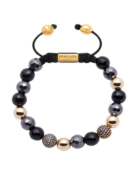 Women's 14K Gold Collection With Hematite And Diamond Pave Ball - Nialaya Jewelry