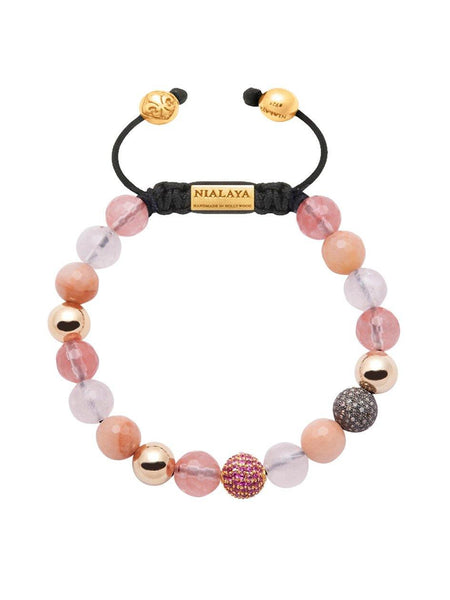 Women's 14K Gold Collection With Cherry Quartz And Pink Sapphire Pave Ball - Nialaya Jewelry  - 1