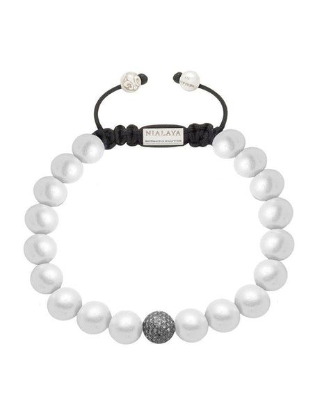 Women's 14K Gold Collection With White Pearls And Black Pave Diamond Ball - Nialaya Jewelry  - 1