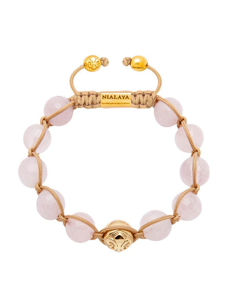Women's 14K Gold Collection With Gold Logo Bead And Rose Quartz - Nialaya Jewelry  - 1