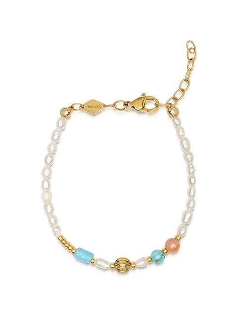 Women's Mini Pearl Beaded Bracelet with Turquoise and Gold - Nialaya Jewelry