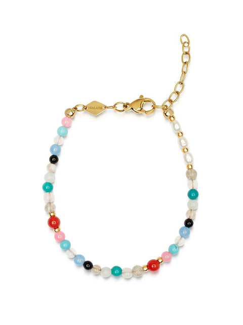 Women's Multicolor Mini Beaded Bracelet with Pearl - Nialaya Jewelry