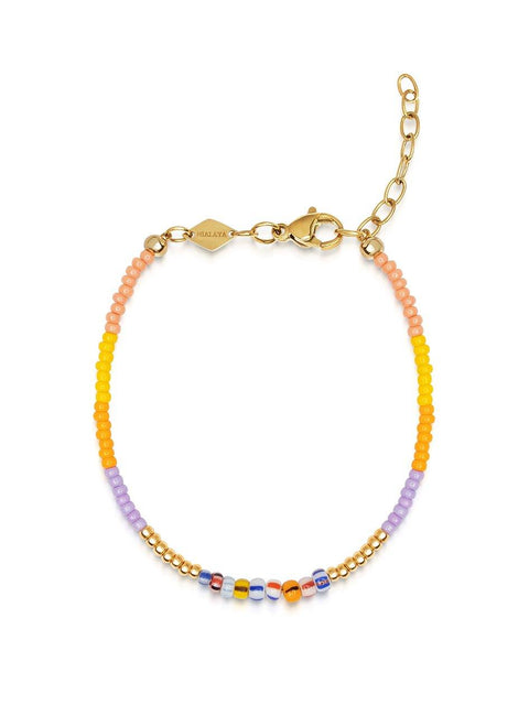 Women's Multicolor Mini Beaded Bracelet with Gold - Nialaya Jewelry