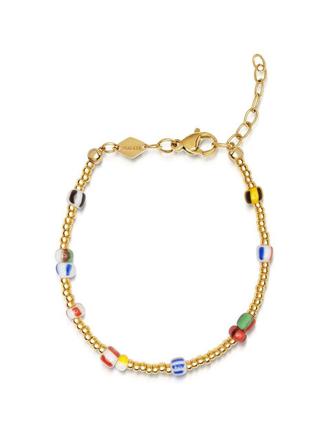 Women's Hand-painted Mini Beaded Bracelet with Gold - Nialaya Jewelry