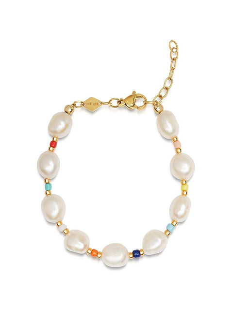 Women's Mini Pearl Bracelet with Multicolor Beads - Nialaya Jewelry