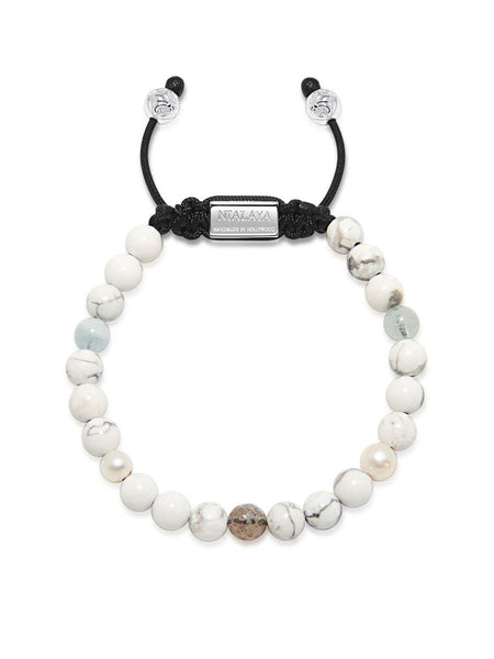 Women's Beaded Bracelet with Howlite, Labradorite, Fresh Sea Pearl and Aquamarine - Nialaya Jewelry  - 2