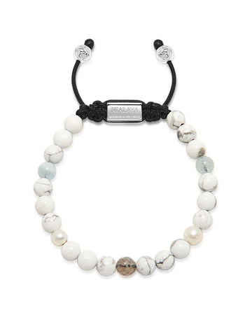 Women's Beaded Bracelet with Howlite, Labradorite, Fresh Sea Pearl and Aquamarine