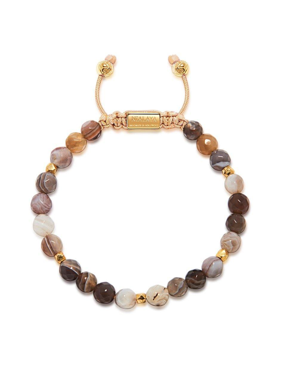 Women's Beaded Bracelet with Botswana Agate
