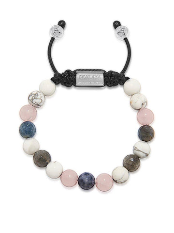 Women's Beaded Bracelet with Howlite, Rose Quartz and Blue Dumortierite