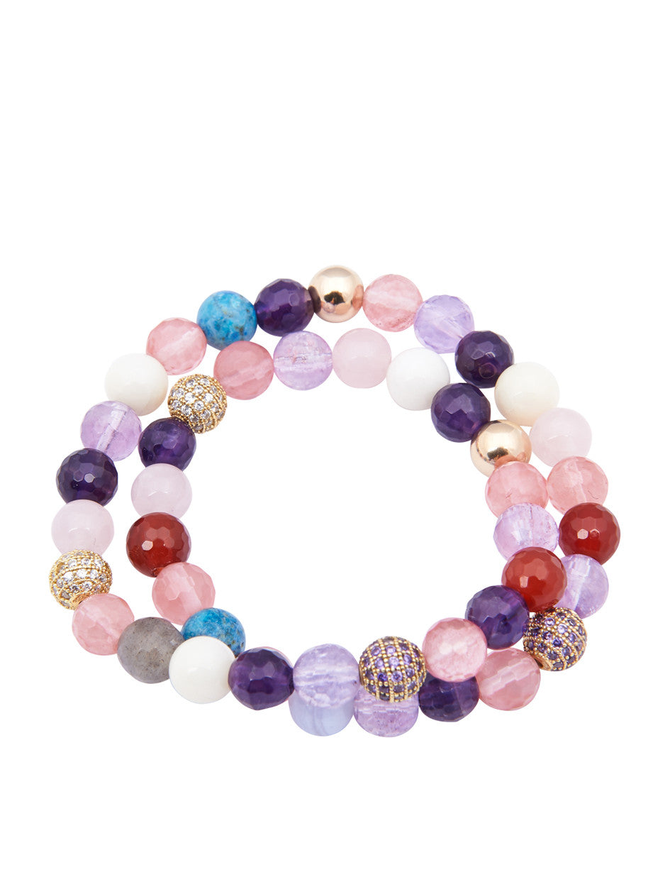Women's Wrap Around, Amethyst Lavender, Cherry Quartz & Purple CZ Diamonds - Nialaya Jewelry  - 1