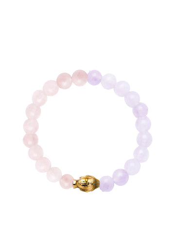 Women's Wristband with Amethyst Lavender, Rose Quartz and Gold Buddha