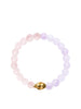Women's Wristband with Amethyst Lavender, Rose Quartz and Gold Buddha - Nialaya Jewelry  - 1
