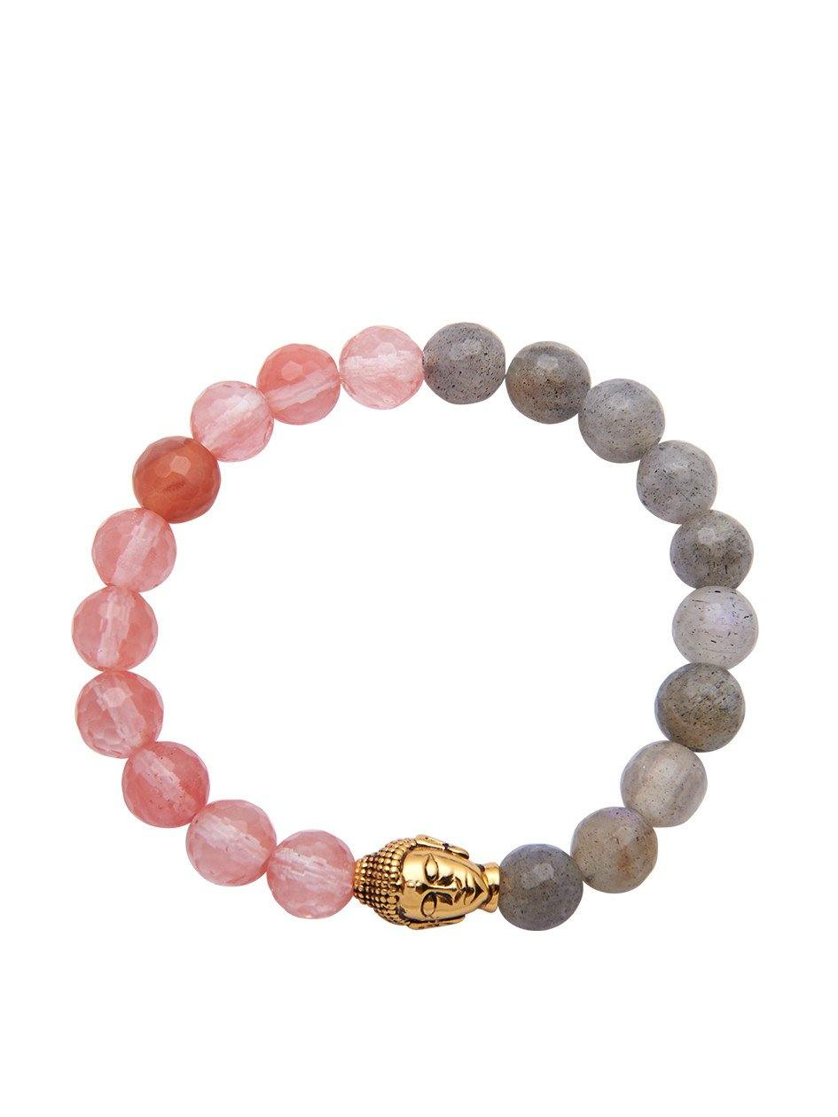 Women's Bracelet Gold Plated Buddha with Cherry Quartz & Labrodite - Nialaya Jewelry  - 1