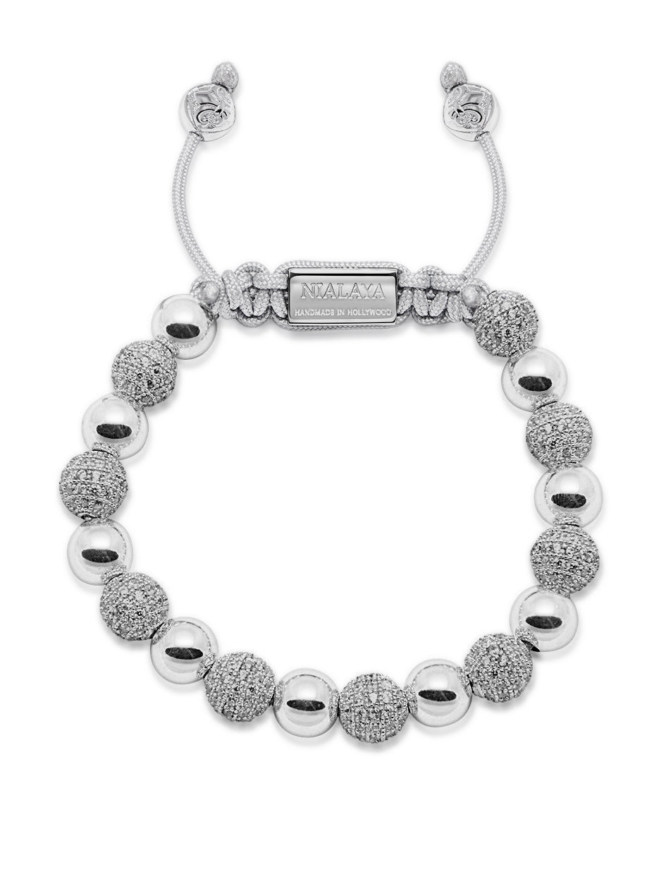 Women's Beaded Bracelet with Silver and CZ Diamonds
